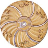 Pearl Abrasive Hexpin Floor Preparation System 15 inch plate w/12 Gold Diamond Pins (Coarse Diamonds) HEX1712C