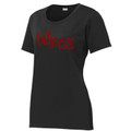 Ladies' Black Performance Tee with Crimson Red HILLGROVE BANDS Design