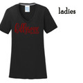 Ladies' Black Performance V NECK Tee with Crimson Red HILLGROVE BANDS Design