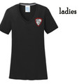 Ladies' Black Performance V NECK Tee with Embroidered HILLGROVE BANDS Crest