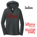 Ladies' Perfect Lightweight Long  Sleeve Hoodie with Crimson Red HILLGROVE BANDS Design