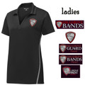 Ladies' Black/Gray  Performance Contrast Polo with HILLGROVE BANDS Embroidered Design