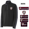 Men's Performance Colorblock Black/Gray Quarter Zip with HILLGROVE BANDS Embroidered Design