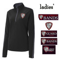 Ladies'  Performance Colorblock Black/Gray Quarter Zip with HILLGROVE BANDS Embroidered Design