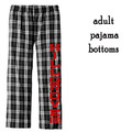 Adult  Black/White Flannel PJ Bottoms  with HILLGROVE BANDS