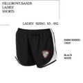 Ladies' Black/White Athletic Short  with Embroidered HILLGROVE BANDS Crest
