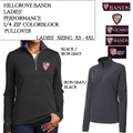 Ladies' Colorblock Quarter Zip Pullover with Embroidered HILLGROVE BANDS Logo Choice