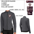 Ladies' Contrast Full Zip Jacket with Embroidered HILLGROVE BANDS Logo Choice