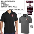 Men's 3 Button Performance Polo with Embroidered HILLGROVE BANDS Logo Choice