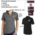 Ladies' 5 Button Performance Polo with Embroidered HILLGROVE BANDS Logo Choice