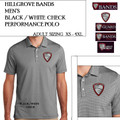 Men's Black/White Check Performance Polo with Embroidered HILLGROVE BANDS Logo Choice