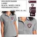 Ladies'  Black/White Check Performance Polo with Embroidered HILLGROVE BANDS Logo Choice