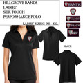 Ladies' Silk Touch Performance Polo with Embroidered HILLGROVE BANDS Logo Choice