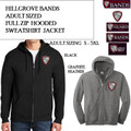 Adult Sizing Full Zip Hooded Sweatshirt with Embroidered HILLGROVE BANDS Logo Choice