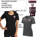 Ladies' Scoop Neck Performance Tee with Embroidered HILLGROVE BANDS Logo Choice