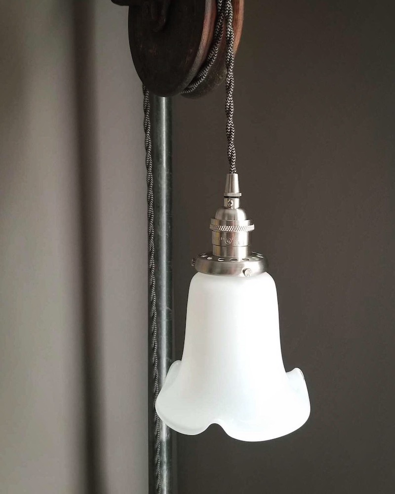Lily opal glass shade, 2-1/4 fitter, pretty white pendant shade