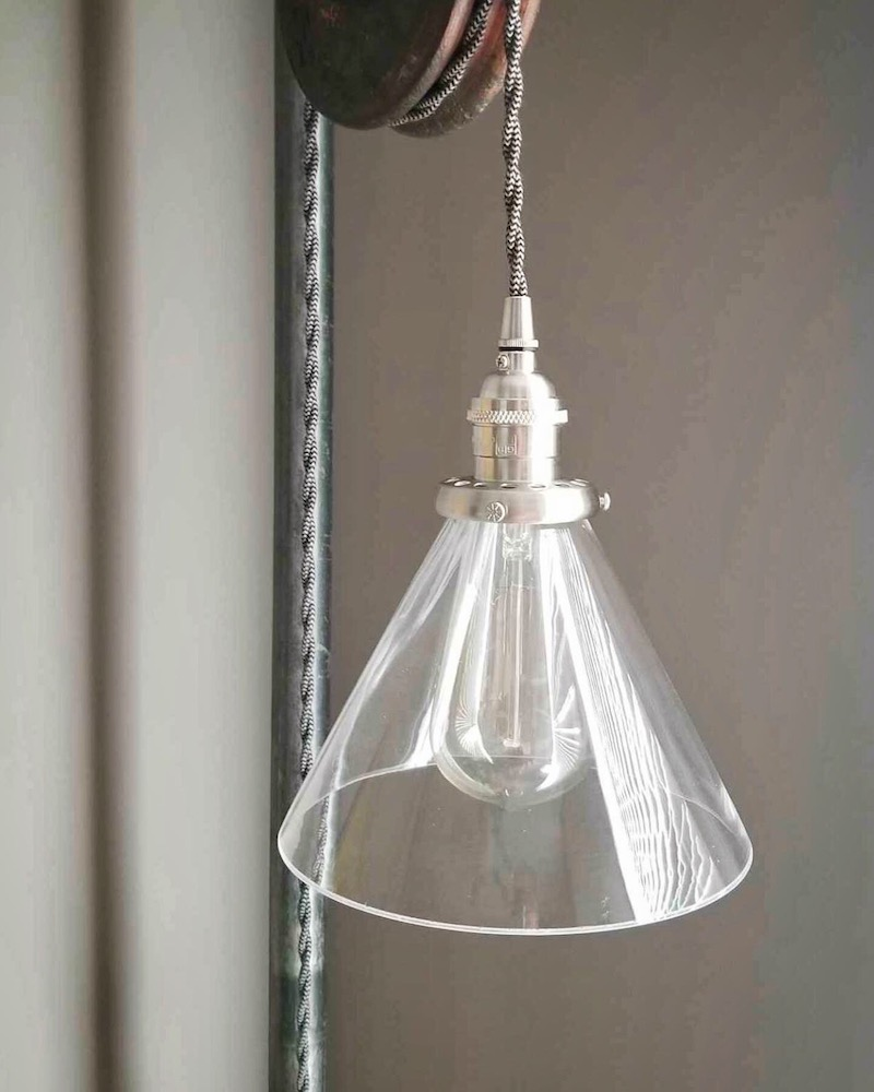 7 inch glass cone shade, vintage style kitchen, island pendants, edison bulb lighting