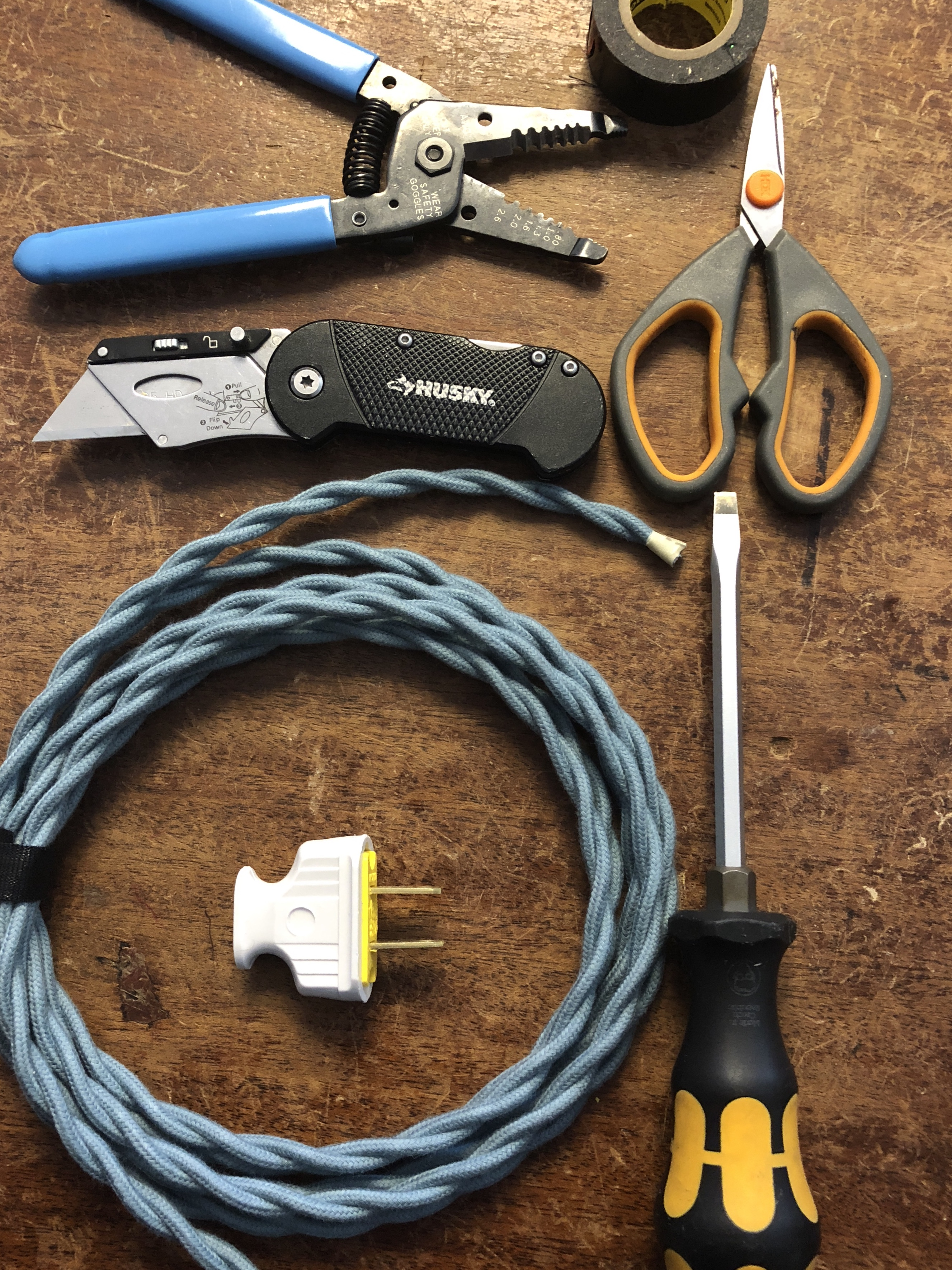 tools to strip cloth covered cord