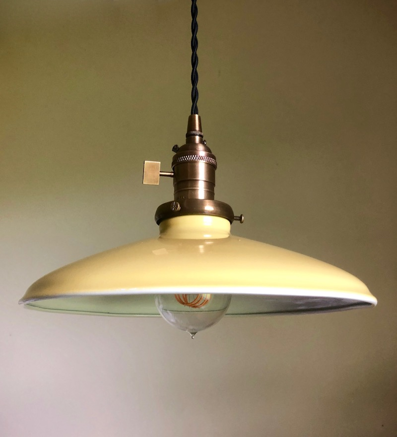 "Yellow 10"" porcelain enamel pendant shade, industrial kitchen dining living decor"