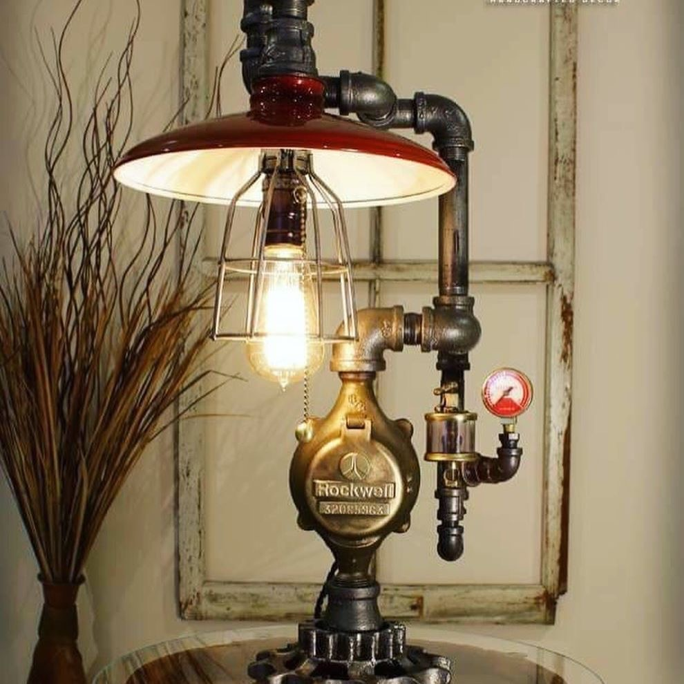 Shade and Cage pipe lamp, industrial enamel shade table light