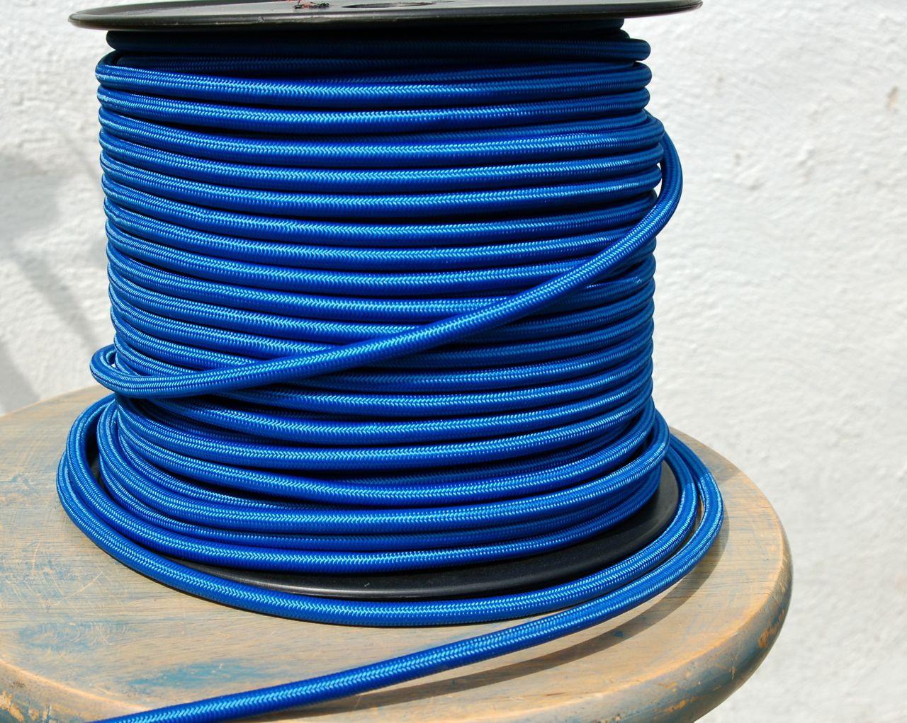 blue round cloth covered 3 wire cord, nylon per foot snake headblue round cloth covered 3 wire cord, nylon per foot loading zoom