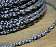 Black & White Zig Zag Patterned Color Cord - Twisted Cotton Cloth Covered Wire