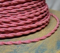 Red & White Zig Zag Patterned Color Cord - Twisted Cotton Cloth Covered Wire