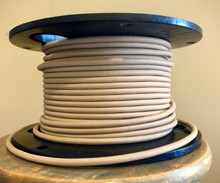 Fabric Braided Color Wire: Tan Round Cloth Covered 3-Wire Cord, Nylon - PER FOOT