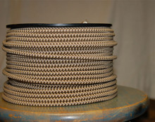 Fabric Braided Color Wire: Hounds-Tooth Brown & Tan Round Cloth Covered 3-Wire Cord, Nylon - PER FOOT