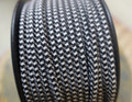 Black & White Houndstooth Parallel (Flat) Cloth Covered Wire, Nylon