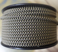 Black & Tan Houndstooth Parallel (Flat) Cloth Covered Wire, Nylon - PER FOOT