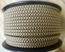 Brown & Tan Houndstooth Parallel (Flat) Cloth Covered Wire, Nylon