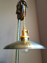 """Antique Brass Porcelain Enamel Shade: 10"""" Rounded Industrial Steel, 2-1/4"""" fitter, Metal Lampshade"""