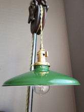 "Green Porcelain Enamel Shade: 10"" Rounded Industrial Steel, 2-1/4"" fitter, Metal Lampshade"