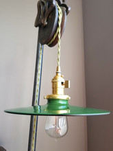 "Green Porcelain Enamel Shade: 10.25"" Flat Saucer, Industrial Metal, 2-1/4"" fitter, Metal Lampshade"