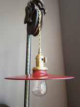 "Red Porcelain Enamel Shade: 10.25"" Flat Saucer, Industrial Metal, 2-1/4"" fitter, Metal Lampshade"