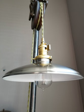 "Satin Nickel Porcelain Enamel Shade: 10"" Rounded Industrial Steel, 2-1/4"" fitter, Metal Lampshade"