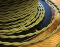 Green & Yellow Pattern Twisted Cloth Covered Wire, Cotton - PER FOOT