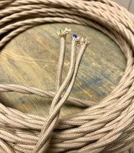Tan 3-Wire Twisted Cloth Covered Cord, Cotton