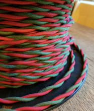 Red & Green 2-Wire Twisted Cloth Covered Wire, Cotton - PER FOOT
