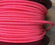 Hot Pink Round Cloth Covered 3-Wire Cord, Nylon - PER FOOT