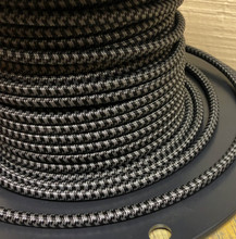 Black & Gray Hounds Tooth Round Cloth Covered 3-Wire Cord, Nylon - PER FOOT