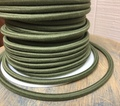 Green Round Cloth Covered 3-Wire Cord, Cotton - PER FOOT