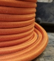 Orange Round Cloth Covered 3-Wire Cord, Cotton - PER FOOT