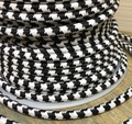 Black & White Large Hounds-tooth Round Cloth Covered 3-Wire Cord, Cotton - PER FOOT