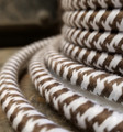 Brown & White Hounds-Tooth Round Cloth Covered 3-Wire Cord, Cotton - PER FOOT