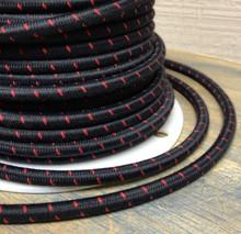 Black w/ Red Single Stitch Tracer Round Cloth Covered 3-Wire Cord, Cotton - PER FOOT