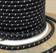 Black w/ White Single Stitch Tracer Round Cloth Covered 3-Wire Cord, Cotton - PER FOOT