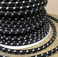 Black w/ White Double Stitch Tracer Round Cloth Covered 3-Wire Cord, Cotton - PER FOOT