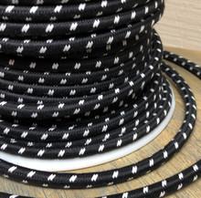 Black w/ White Double Stitch Tracer Round Cloth Covered 3-Wire Cord, Cotton - PER FOOT
